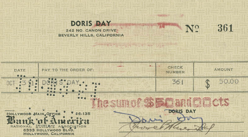 Image 1 for Doris Day - Autographed Signed Check 10/03/1951 co-signed by: Jerome Bernard Rosenthal - HFSID 281392