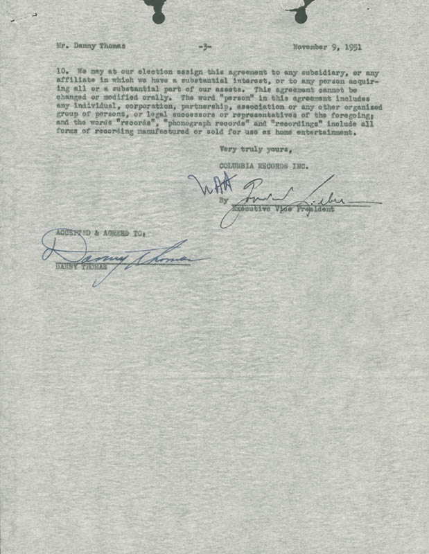 Image 1 for Danny Thomas - Contract Signed 11/09/1951 - HFSID 281403