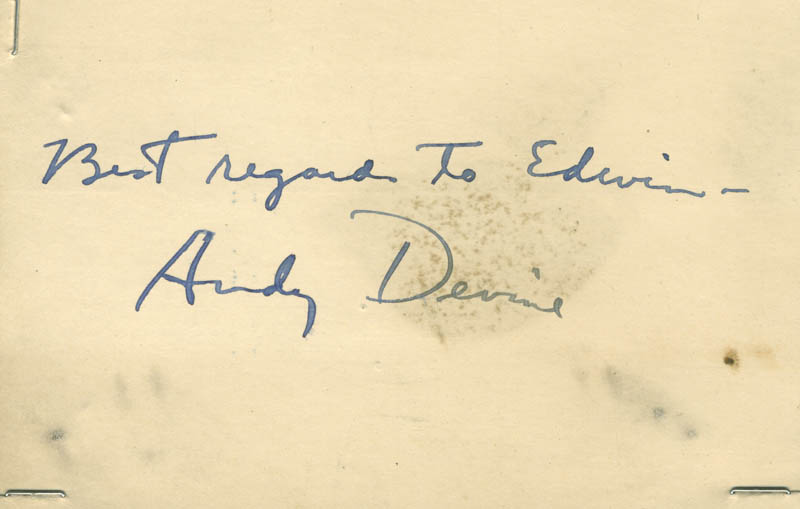 Image 1 for Andy Devine - Autograph Note Signed - HFSID 281422