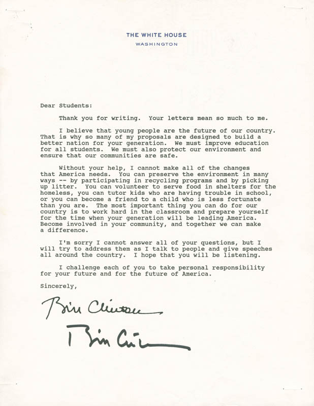 Image 1 for President William J. 'Bill' Clinton - Typed Letter Signed - HFSID 281464