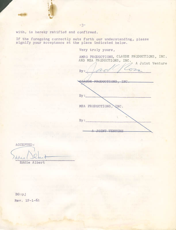 Image 1 for Eddie Albert - Contract Multi-signed 08/31/1961 - HFSID 281474
