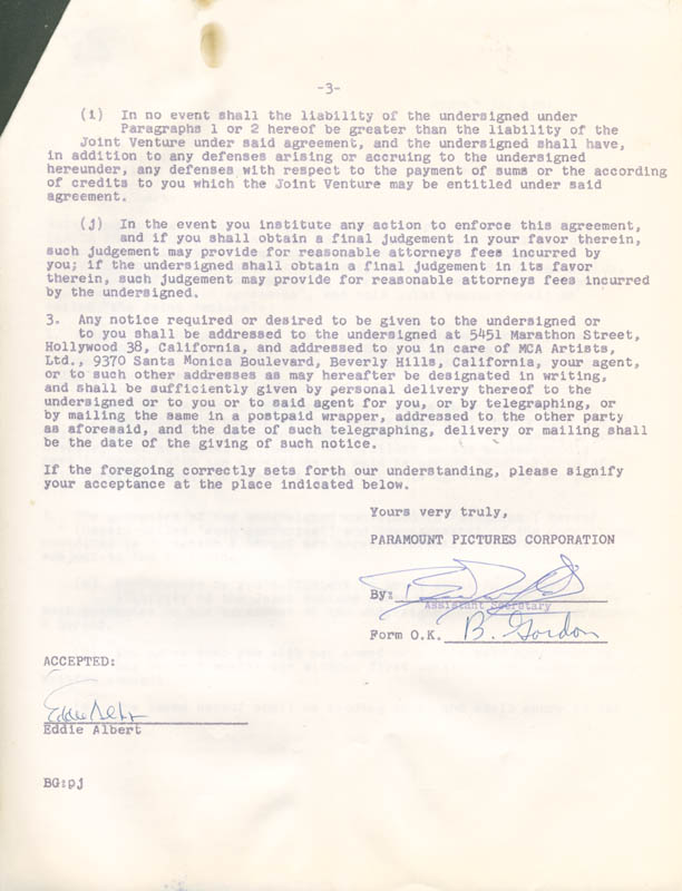 Image 3 for Eddie Albert - Contract Multi-signed 08/31/1961 - HFSID 281474