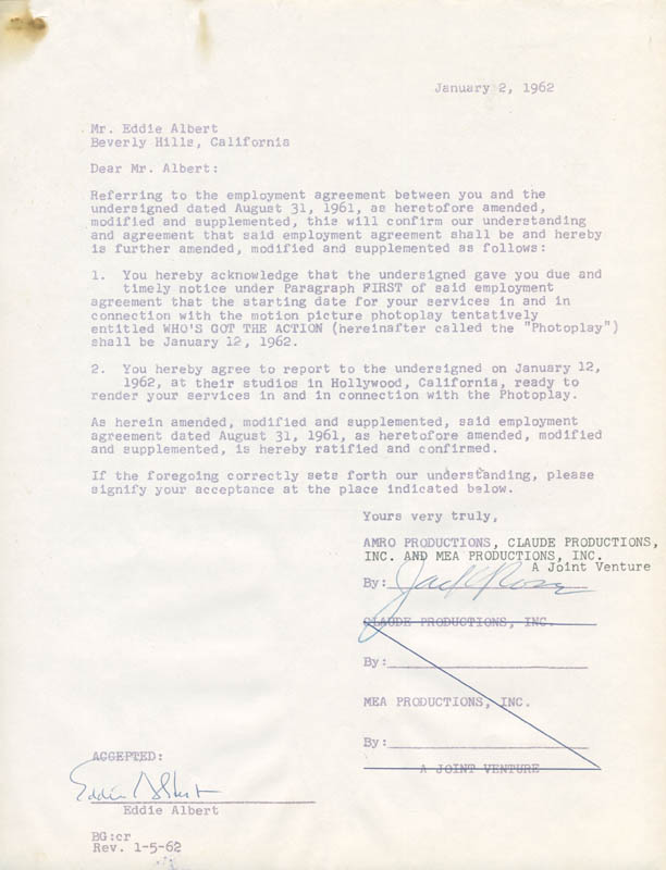 Image 4 for Eddie Albert - Contract Multi-signed 08/31/1961 - HFSID 281474