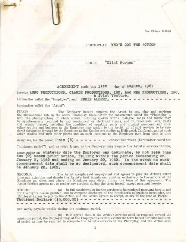 Image 6 for Eddie Albert - Contract Multi-signed 08/31/1961 - HFSID 281474
