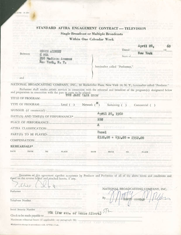 Image 1 for Eddie Albert - Contract Signed 04/28/1960 - HFSID 281475