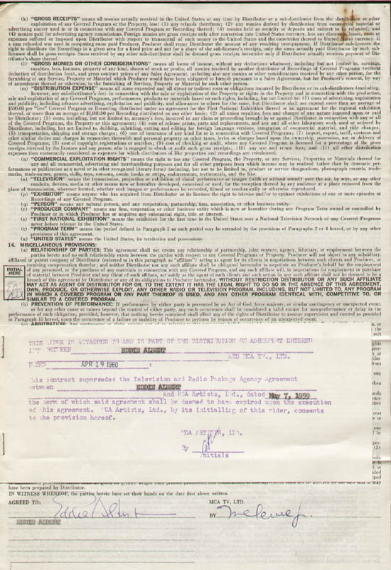 Image 1 for Eddie Albert - Contract Multi-signed 04/19/1960 - HFSID 281477