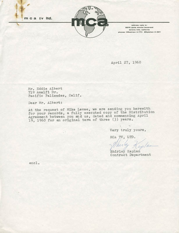Image 4 for Eddie Albert - Contract Multi-signed 04/19/1960 - HFSID 281477