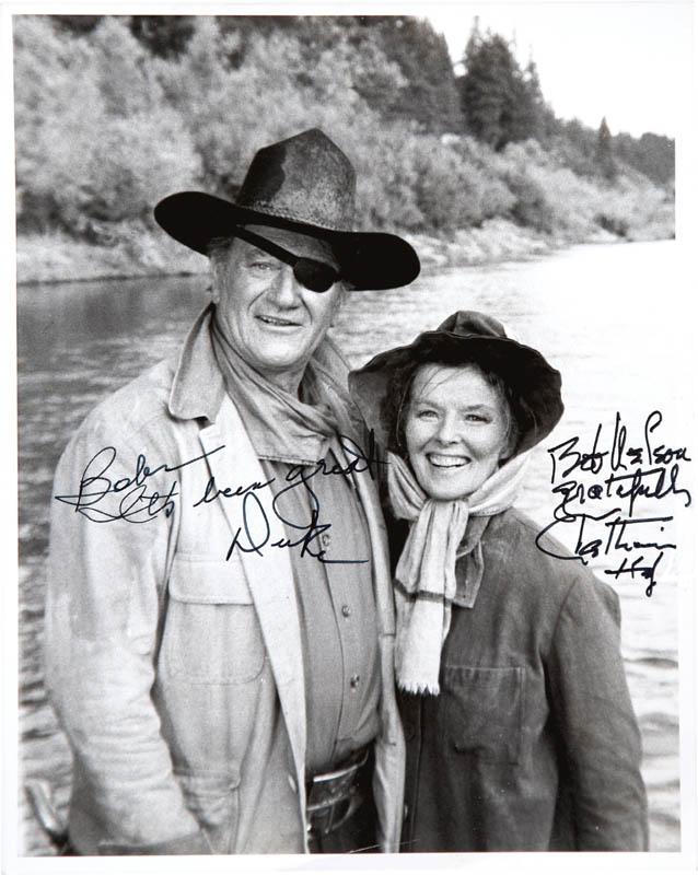 Image 1 for Rooster Cogburn Movie Cast - Autographed Inscribed Photograph co-signed by: Katharine Hepburn, John 'Duke' Wayne - HFSID 281478