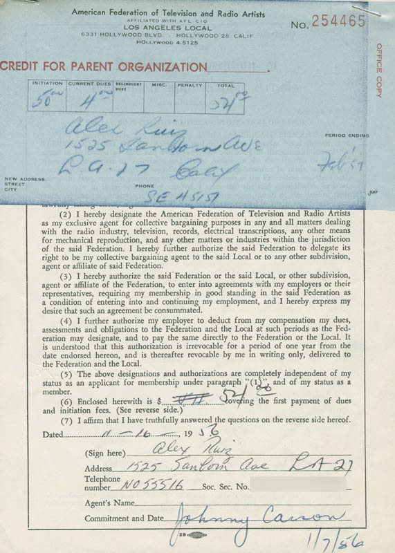 Image 1 for Alex Ruiz - Document Signed 11/16/1956 - HFSID 281729