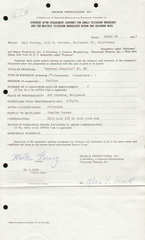 Image 1 for Walter Koenig - Contract Signed 03/20/1963 - HFSID 281808