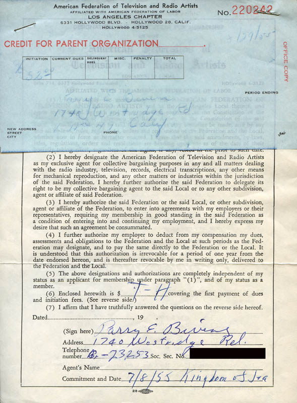 Image 1 for Parry Bivens - Document Signed 07/08/1955 - HFSID 282131