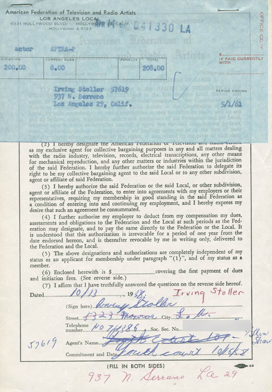 Image 1 for Irving Stoller - Document Signed 10/13/1958 - HFSID 282155