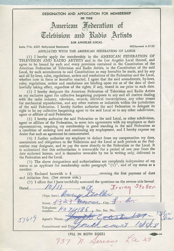 Image 3 for Irving Stoller - Document Signed 10/13/1958 - HFSID 282155