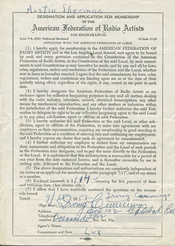 Image 1 for Irving Cummings - Document Signed 09/15/1952 - HFSID 282462
