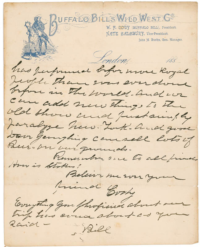 Image 1 for William F. 'Buffalo Bill' Cody - Partial Autograph Letter Signed Twice - HFSID 282758