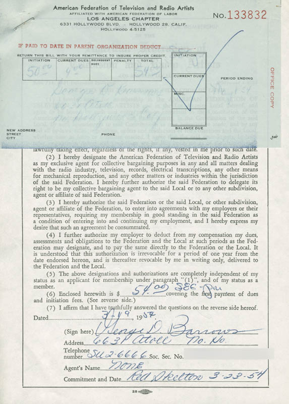Image 1 for George D. Barrows - Document Signed 03/19/1954 - HFSID 282828