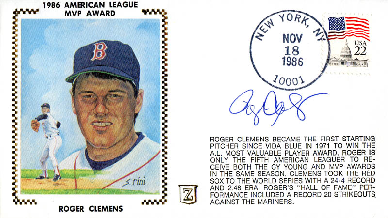 Image 1 for Roger Clemens - First Day Cover Signed - HFSID 283001