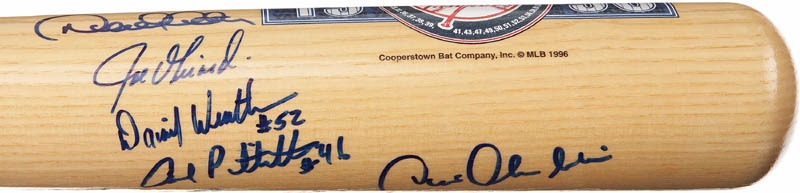 Image 4 for The New York Yankees - Baseball Bat Signed Circa 1996 with co-signers - HFSID 283010