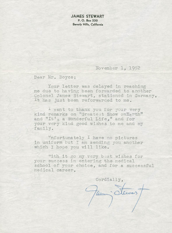 Image 1 for James 'Jimmy' Stewart - Typed Letter Signed 11/01/1952 - HFSID 283173