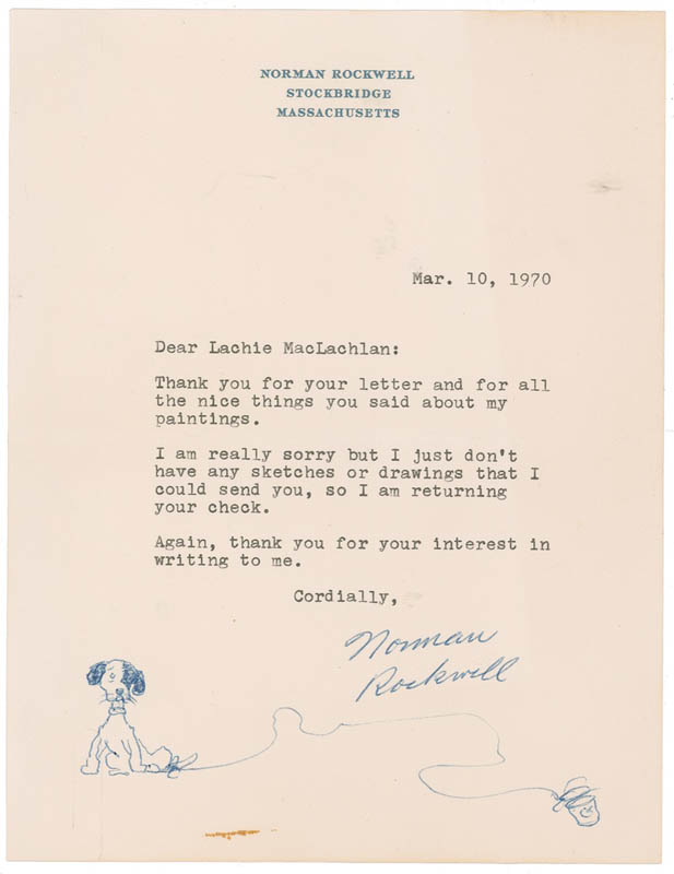 Image 1 for Norman Rockwell - Original Art On Typed Letter Signed 03/10/1970 - HFSID 283415