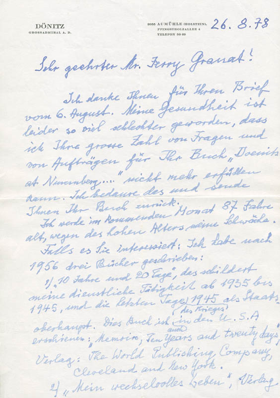 Image 1 for Grand Admiral Karl Donitz - Autograph Letter Signed 08/26/1978 - HFSID 283423
