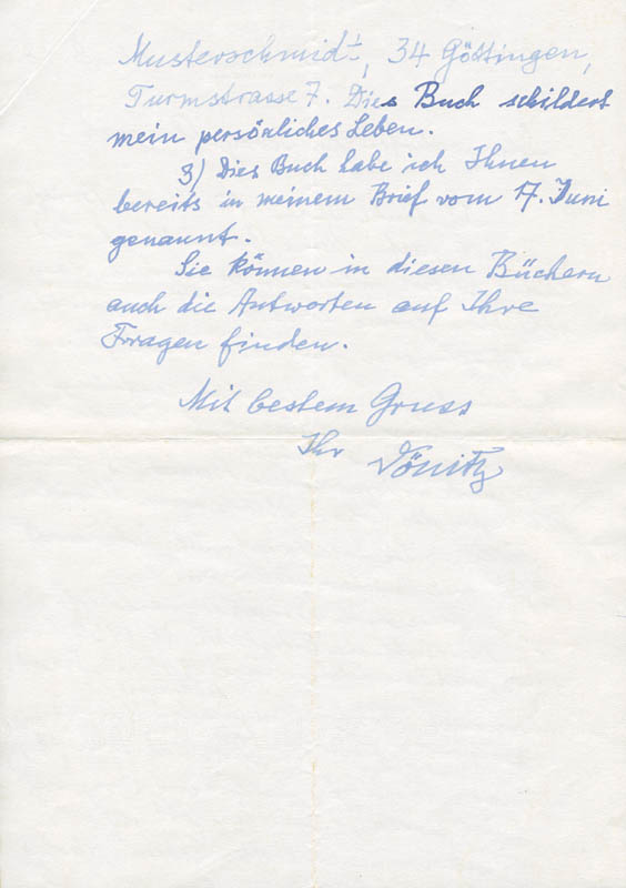 Image 3 for Grand Admiral Karl Donitz - Autograph Letter Signed 08/26/1978 - HFSID 283423