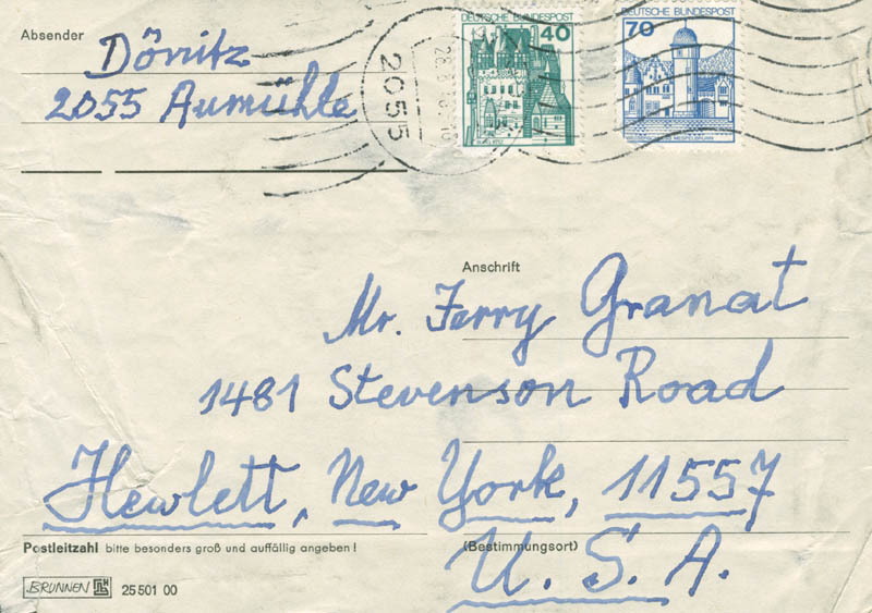 Image 1 for Grand Admiral Karl Donitz - Autograph Envelope Signed 08/16/1976 - HFSID 283429