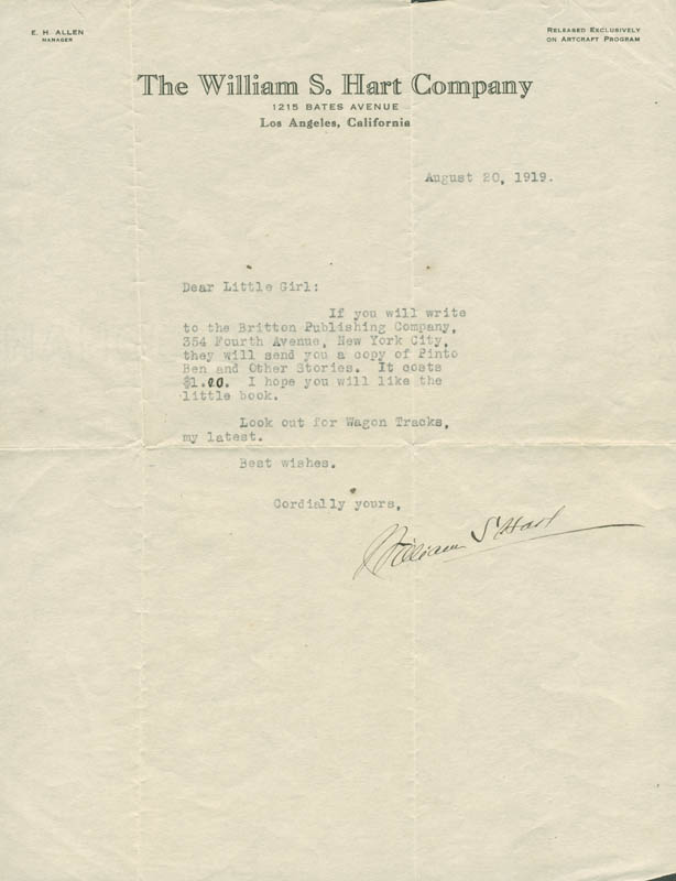 Image 1 for William S. Hart - Typed Letter Signed 08/20/1919 - HFSID 283460