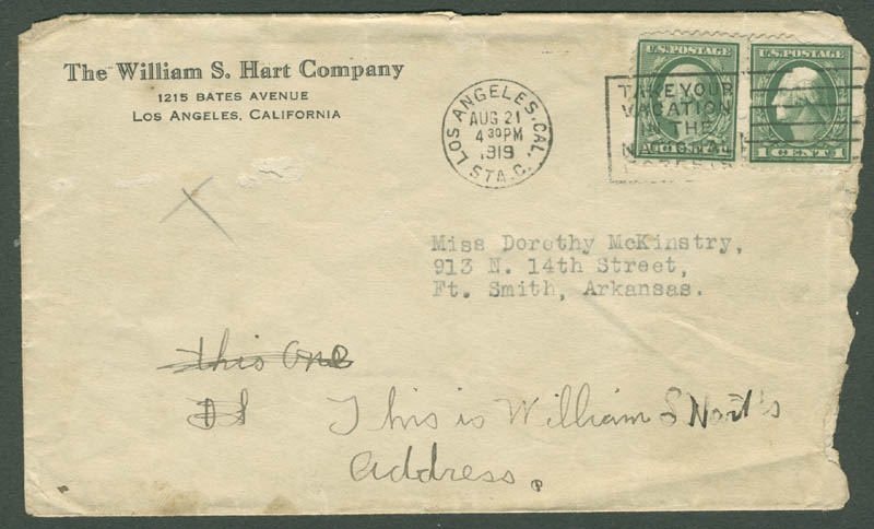 Image 4 for William S. Hart - Typed Letter Signed 08/20/1919 - HFSID 283460