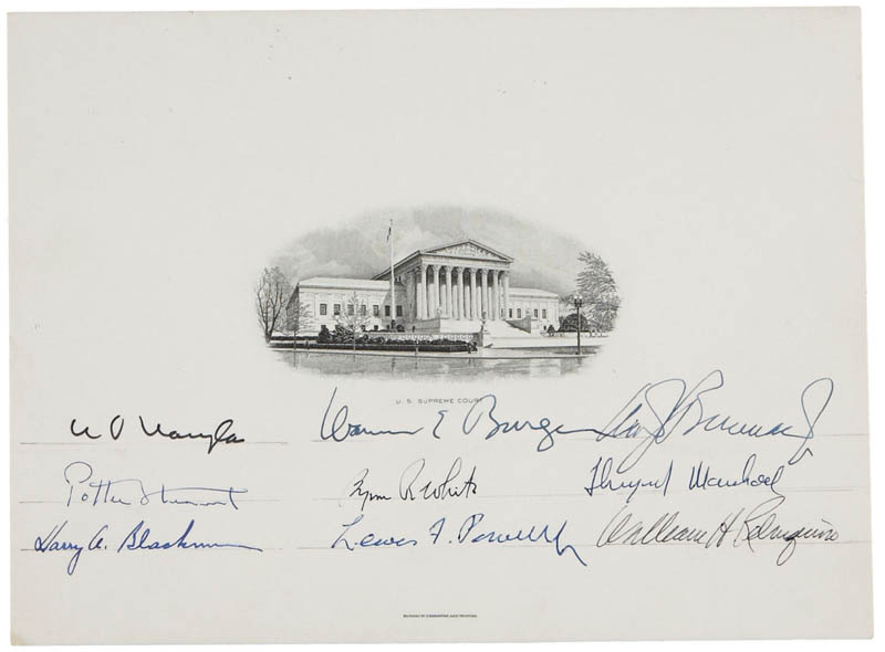 Image 1 for The Warren E. Burger Court - Supreme Court Engraving Signed with co-signers - HFSID 283511