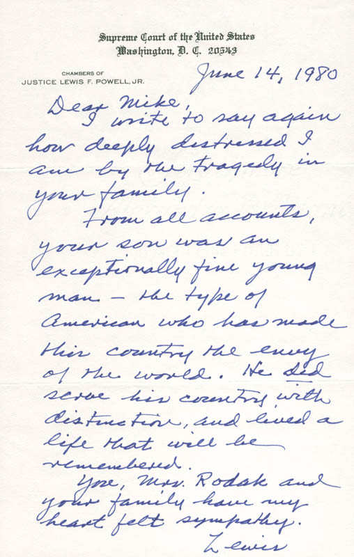 Image 1 for Associate Justice Lewis F. Powell Jr. - Autograph Letter Signed 06/14/1980 - HFSID 283557