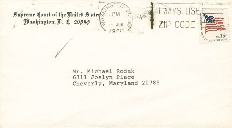 Image 3 for Associate Justice Lewis F. Powell Jr. - Autograph Letter Signed 06/14/1980 - HFSID 283557