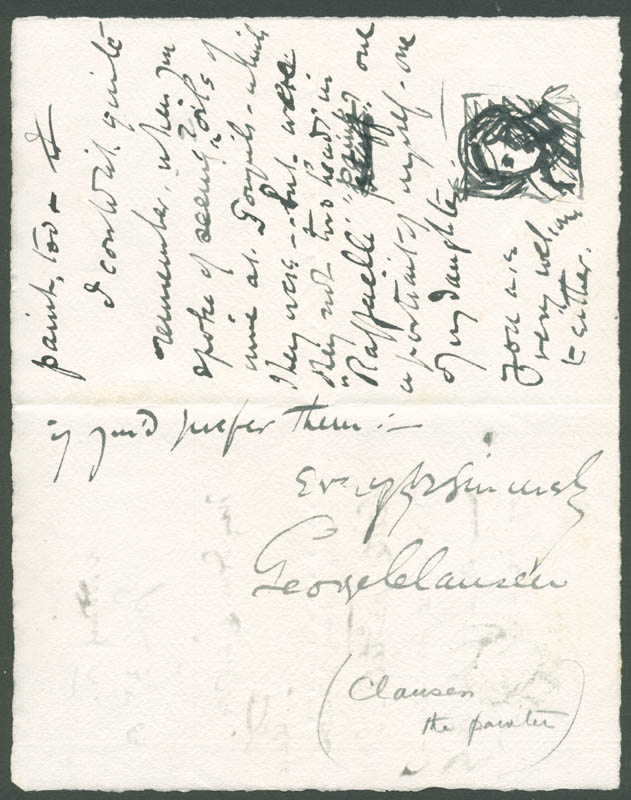 Image 1 for George Clausen - Autograph Letter Signed 07/03/1883 - HFSID 283579