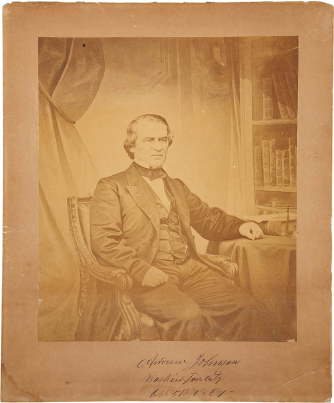 Image 1 for President Andrew Johnson - Photograph Mount Signed 10/05/1867 - HFSID 283730