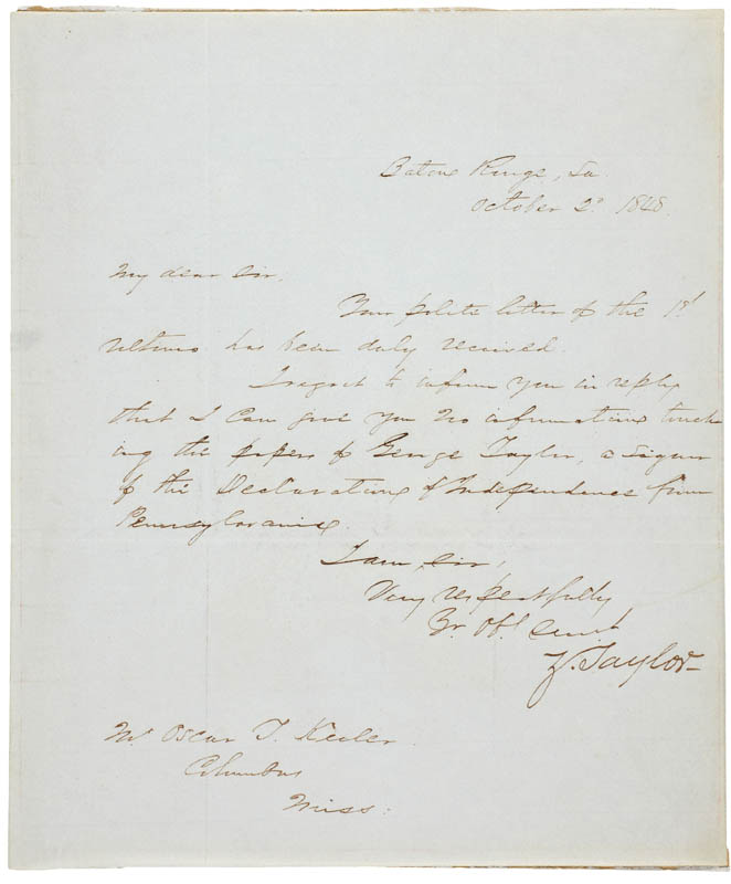 Image 1 for President Zachary Taylor - Autograph Letter Signed 10/02/1848 - HFSID 283736