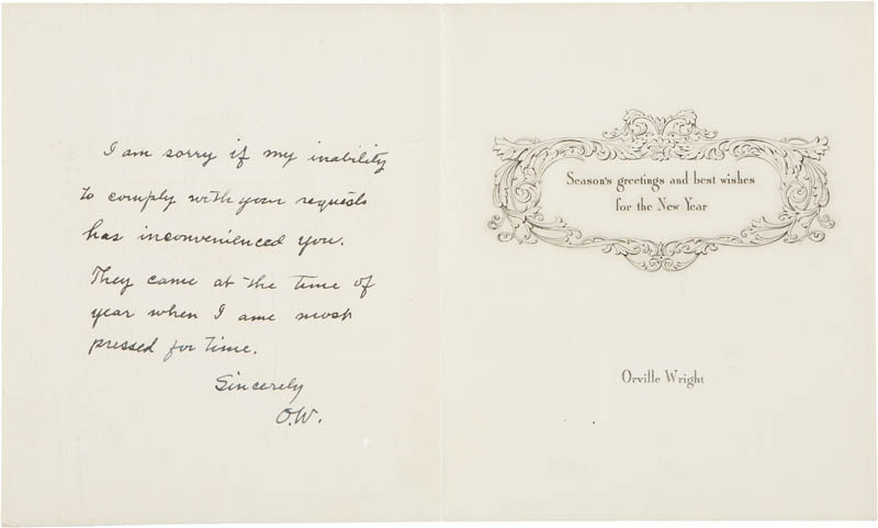 Image 1 for Orville Wright - Autograph Christmas / Holiday Card Signed Circa 1947 - HFSID 283742