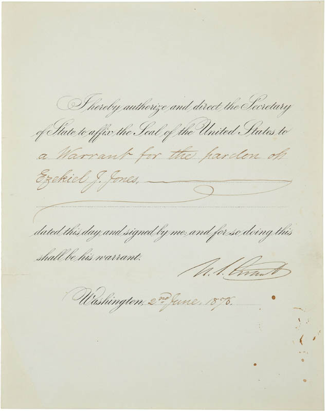 Image 1 for President Ulysses S. Grant - Presidential Warrant Signed 06/02/1876 - HFSID 283747