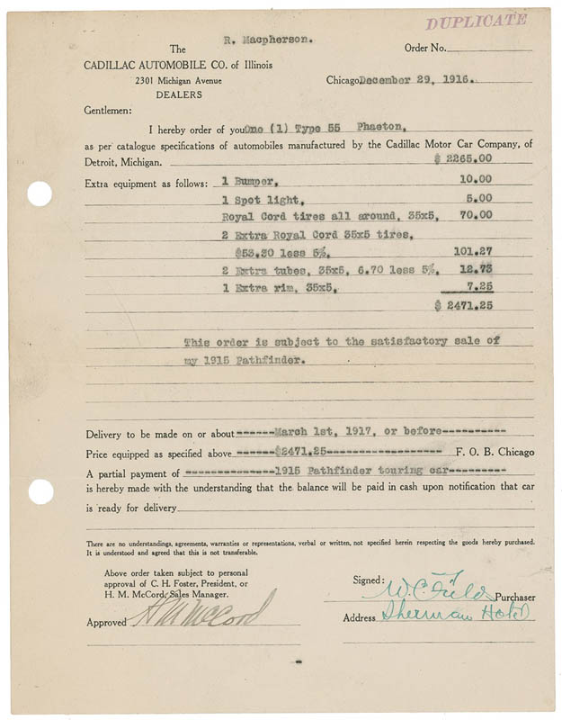 Image 1 for W. C. Fields - Document Signed 12/29/1916 - HFSID 283836
