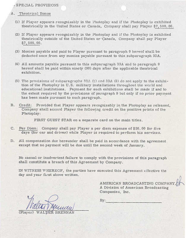 Image 3 for Walter Brennan - Contract Signed 12/06/1971 - HFSID 283840