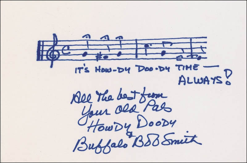 Image 1 for Buffalo Bob Smith - Autograph Musical Quotation Signed - HFSID 283857