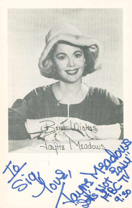 Image 1 for Jayne Meadows - Autographed Inscribed Photograph Circa 1983 - HFSID 284036