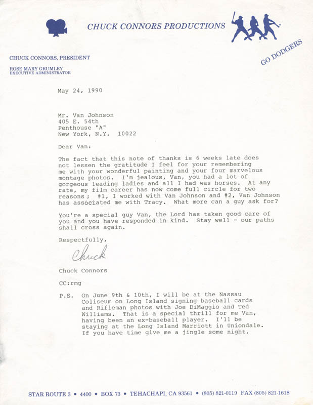 Image 1 for Chuck Connors - Typed Letter Signed 05/24/1990 - HFSID 284064