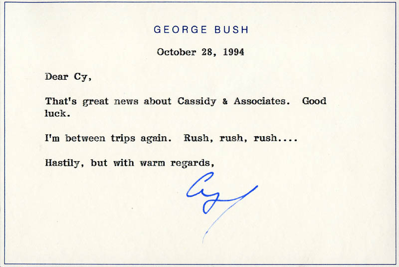 Image 1 for President George H.W. Bush - Typed Note Signed 10/28/1994 - HFSID 284126
