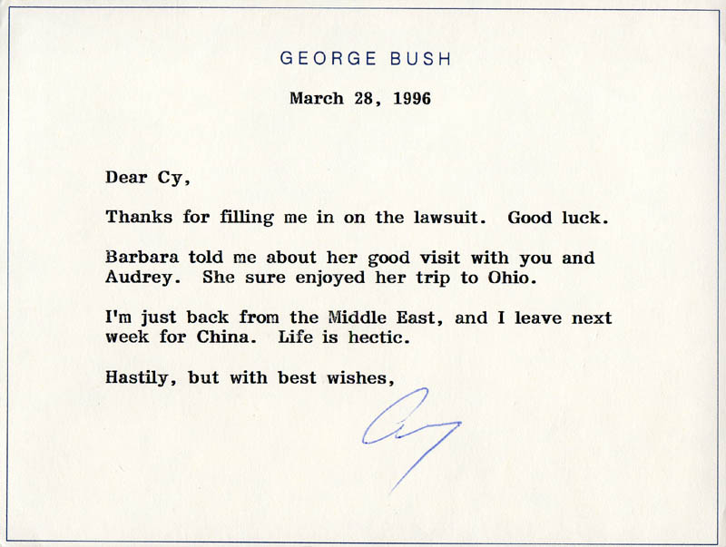 Image 1 for President George H.W. Bush - Typed Note Signed 03/28/1996 - HFSID 284128