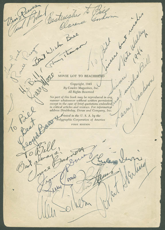 Image 1 for President Ronald Reagan - Book Page Signed Circa 1945 with co-signers - HFSID 284201