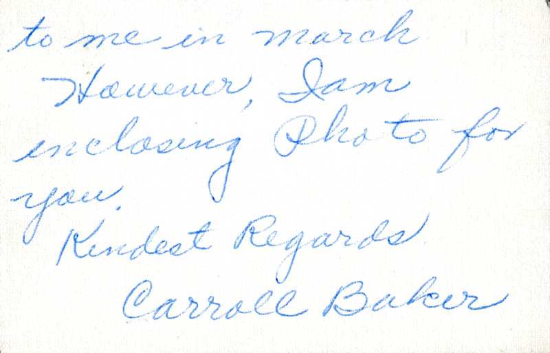 Image 1 for Carroll Baker - Autograph Letter Signed - HFSID 284203