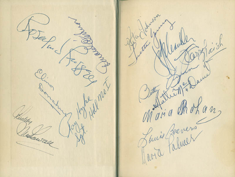 Hattie mammy mcdaniel book signed with cosigners autographs hattie mammy mcdaniel book signed co signed by rosalind russell ward bond maria palmer loretta young elinor donahue roddy mcdowall malvernweather Gallery