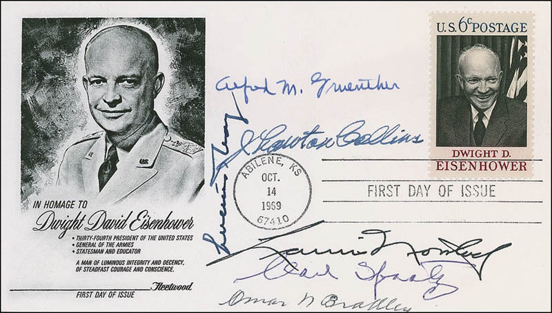 Image 1 for General Omar N. Bradley - First Day Cover Signed with co-signers - HFSID 284381