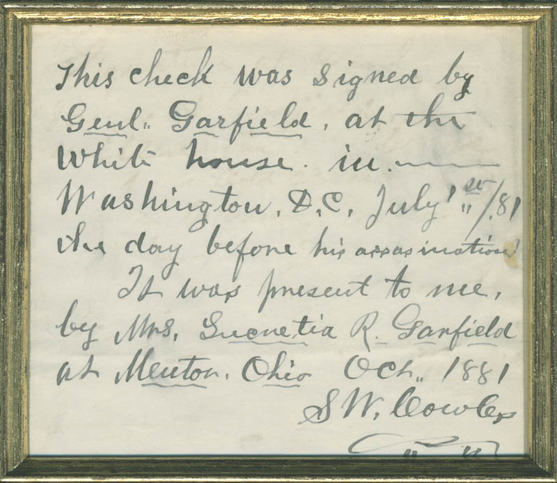 Image 4 for President James A. Garfield - Partial Check Signed - HFSID 284449