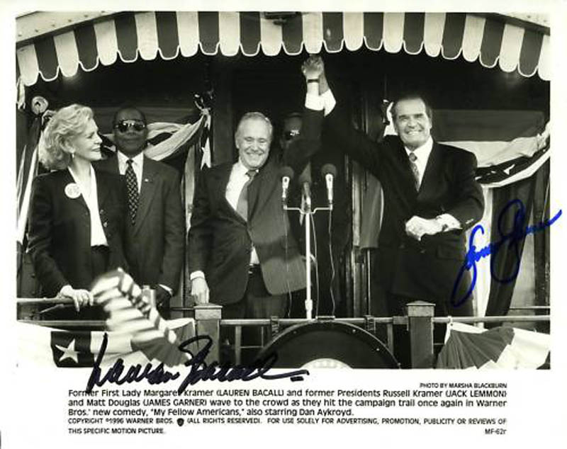 Image 1 for My Fellow Americans Movie Cast - Autographed Signed Photograph co-signed by: James Garner, Lauren Bacall - HFSID 284452